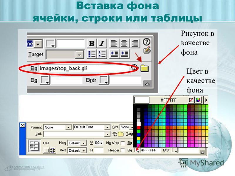 Вставка фона ячейки, строки или таблицы Рисунок в качестве фона Цвет в качестве фона