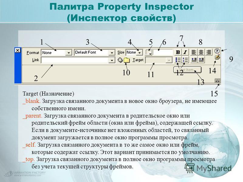 Палитра Property Inspector (Инспектор свойств) 9 1 2 3456 7 8 10 11 12 13 14 15 Target (Назначение) _blank. Загрузка связанного документа в новое окно броузера, не имеющее собственного имени. _parent. Загрузка связанного документа в родительское окно