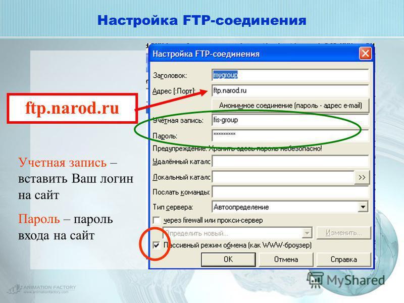 Настройка FTP-соединения ftp.narod.ru Учетная запись – вставить Ваш логин на сайт Пароль – пароль входа на сайт