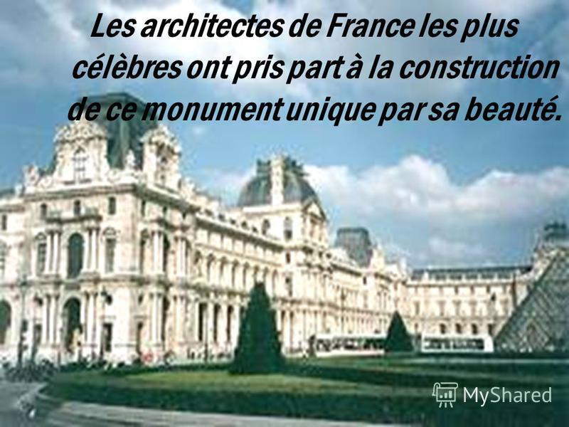 A 1682, quand la cour royale était transférée au Versailles, tous les travaux étaient jetés, le Louvre est venu à l`état de la décédence. Mais tous les travaux selon la construction du Louvre étaient recomencées par Napoléon..