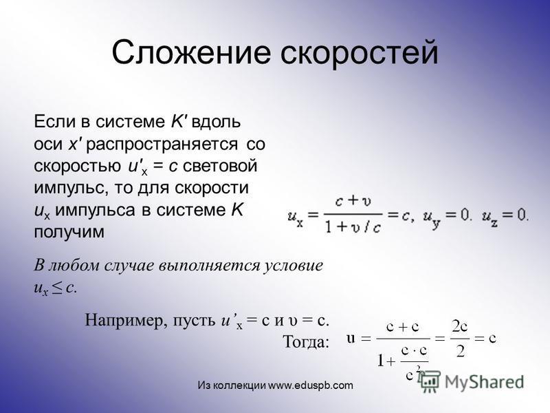 Сложение скоростей В любом случае выполняется условие u x с. Например, пусть u x = с и υ = c. Тогда: Если в системе K' вдоль оси x' распространяется со скоростью u' x = c световой импульс, то для скорости u x импульса в системе K получим Из коллекции
