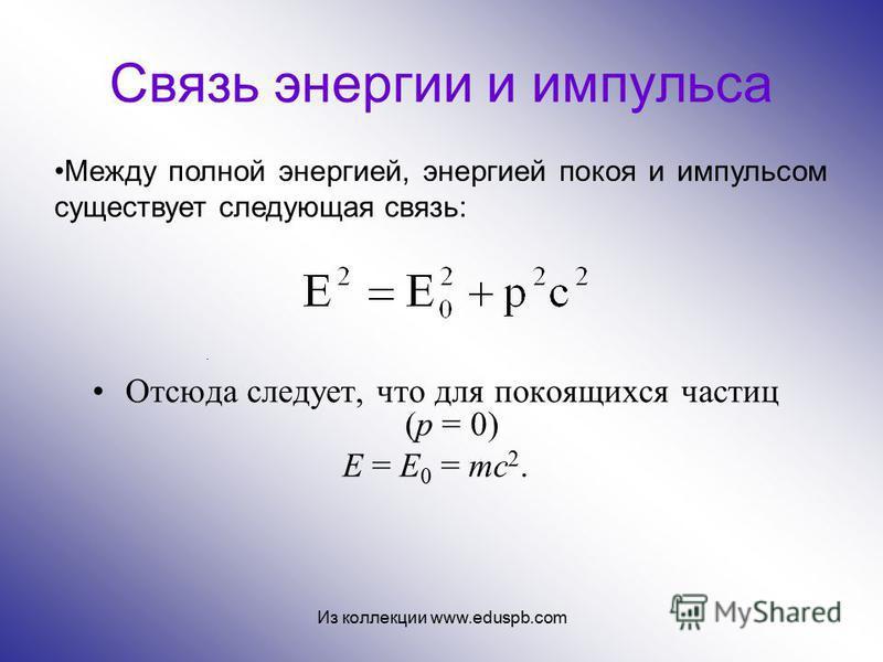 Связь энергии и импульса Отсюда следует, что для покоящихся частиц (p = 0) E = E 0 = mc 2. Между полной энергией, энергией покоя и импульсом существует следующая связь:. Из коллекции www.eduspb.com