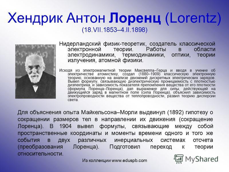 Хендрик Антон Лоренц (Lorentz) (18.VII.1853–4.II.1898) Нидерландский физик-теоретик, создатель классической электронной теории. Работы в области электродинамики, термодинамики, оптики, теории излучения, атомной физики. Исходя из электромагнитной теор