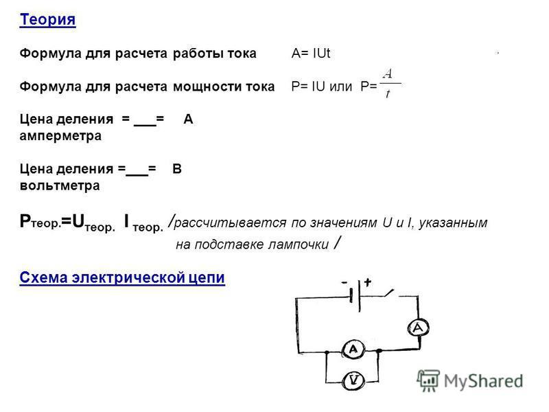 Теория Формула для расчета работы тока А= IUt Формула для расчета мощности тока P= IU или P= Цена деления = ___= А амперметра Цена деления =___= В вольтметра P теор. =U теор. I теор. / рассчитывается по значениям U и I, указанным на подставке лампочк