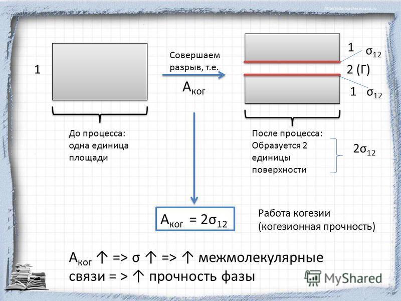 1 До процесса: одна единица площади Совершаем разрыв, т.е. А кок 1 1 σ 12 2 (Г) После процесса: Образуется 2 единицы поверхности 2σ 12 А кок = 2σ 12 А кок => σ => межмолекулярные связи = > прочность фазы Работа кокезии (кокезионная прочность)