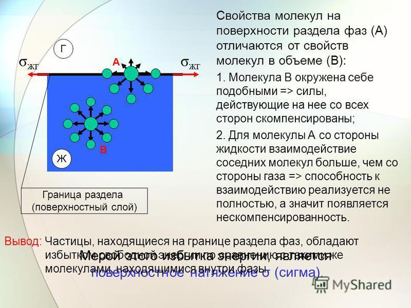 Ж Г σ жк Свойства молекул на поверхности раздела фаз (А) отличаются от свойств молекул в объеме (В): 1. Молекула В окружена себе подобными => силы, действующие на нее со всех сторон скомпенсированы; 2. Для молекулы А со стороны жидкости взаимодействи