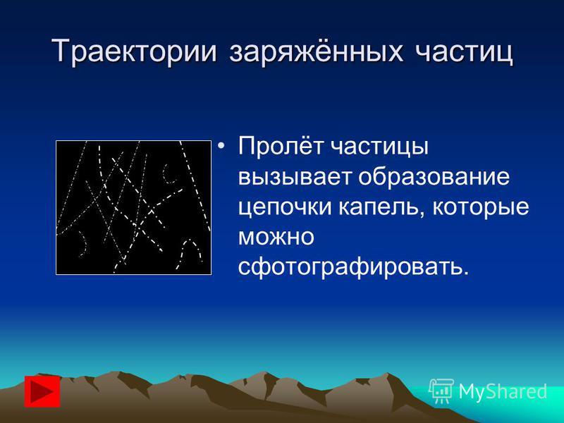 Траектории заряжённых частиц Пролёт частицы вызывает образование цепочки капель, которые можно сфотографировать.