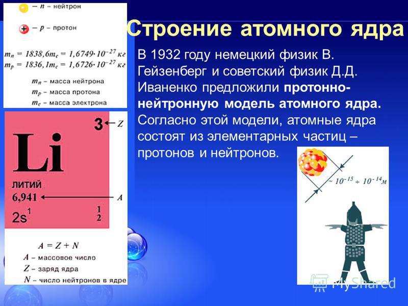 Строение атомного ядра В 1932 году немецкий физик В. Гейзенберг и советский физик Д.Д. Иваненко предложили протонно- нейтронную модель атомного ядра. Согласно этой модели, атомные ядра состоят из элементарных частиц – протонов и нейтронов.