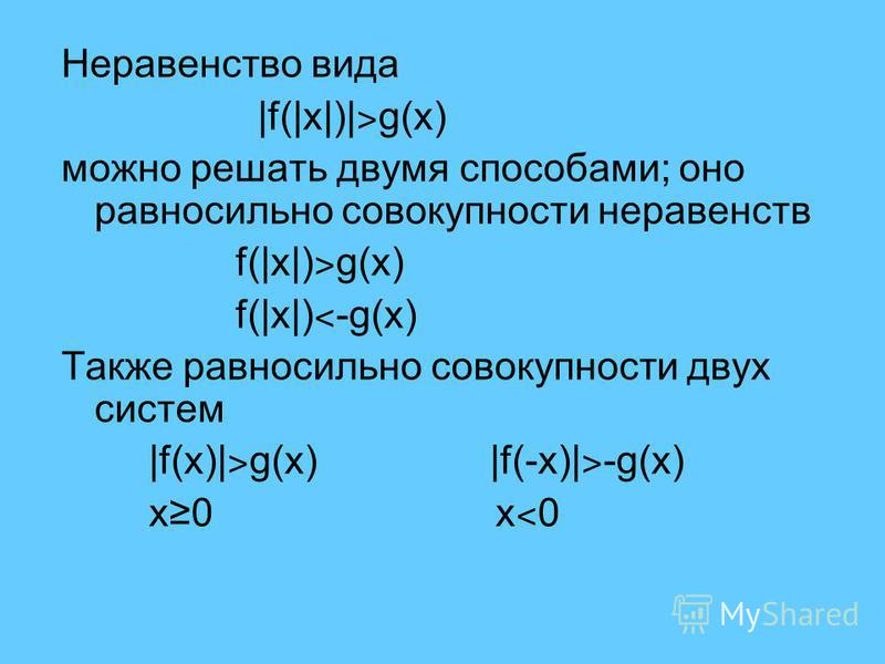 Неравенство вида |f(|x|)| ˃ g(x) можно решать двумя способами; оно равносильно совокупности неравенств f(|x|) ˃ g(x) f(|x|) ˂ -g(x) Также равносильно совокупности двух систем |f(x)| ˃ g(x) |f(-x)| ˃ -g(x) x0 x ˂ 0
