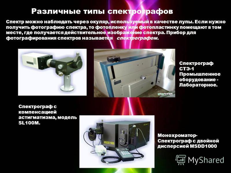 Различные типы спектрографов Спектр можно наблюдать через окуляр, используемый в качестве лупы. Если нужно получить фотографию спектра, то фотопленку или фотопластинку помещают в том месте, где получается действительное изображение спектра. Прибор дл