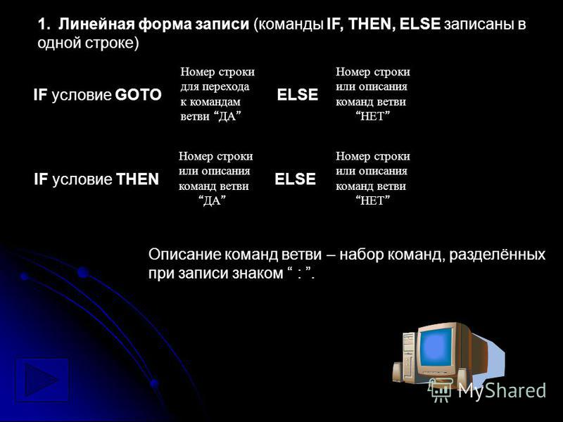 Номер строки для перехода к командам ветви ДА Номер строки или описания команд ветви НЕТ 1. Линейная форма записи (команды IF, THEN, ELSE записаны в одной строке) IF условие GOTO ELSE Номер строки или описания команд ветви ДА Номер строки или описани