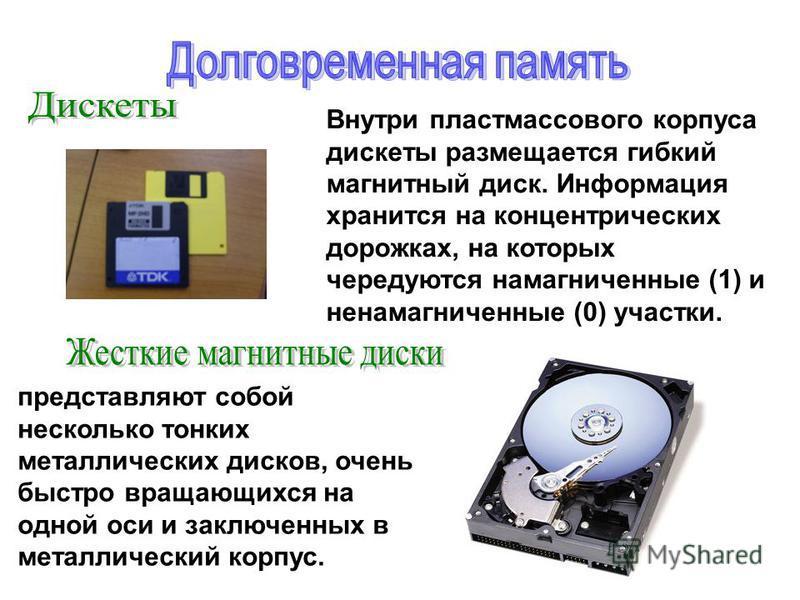 Внутри пластмассового корпуса дискеты размещается гибкий магнитный диск. Информация хранится на концентрических дорожках, на которых чередуются намагниченные (1) и ненамагниченные (0) участки. представляют собой несколько тонких металлических дисков,