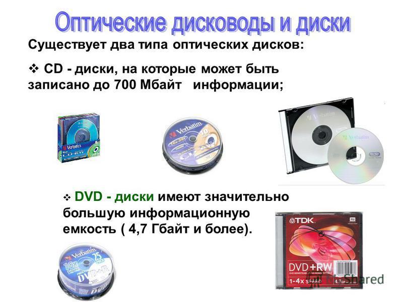 Существует два типа оптических дисков: CD - диски, на которые может быть записано до 700 Мбайт информации; DVD - диски имеют значительно большую информационную емкость ( 4,7 Гбайт и более).