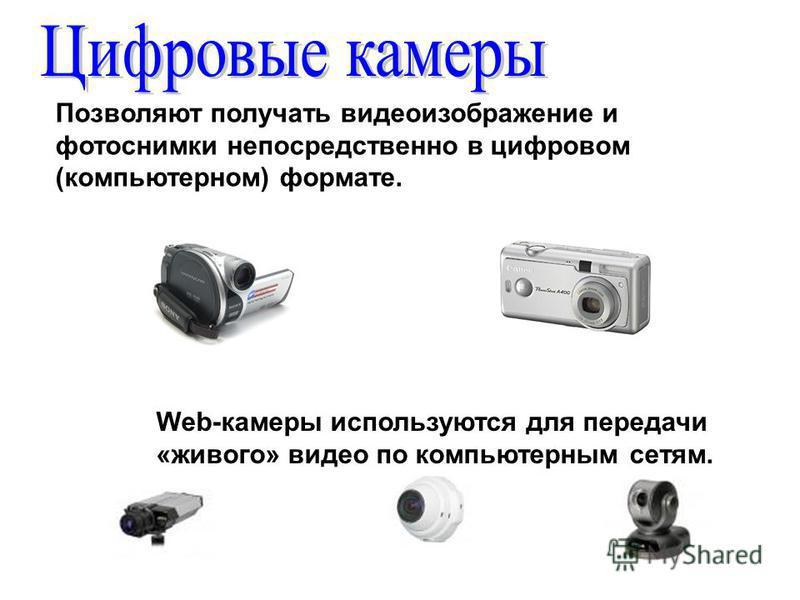 Позволяют получать видеоизображение и фотоснимки непосредственно в цифровом (компьютерном) формате. Web-камеры используются для передачи «живого» видео по компьютерным сетям.