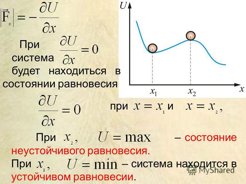 При система будет находиться в состоянии равновесия при и При – состояние неустойчивого равновесия. При – система находится в устойчивом равновесии.