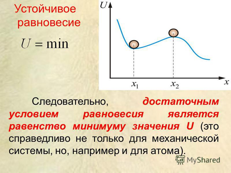 Следовательно, достаточным условием равновесия является равенство минимуму значения U (это справедливо не только для механической системы, но, например и для атома). Устойчивое равновесие