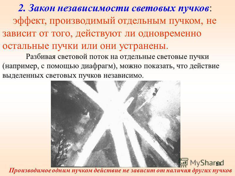 2. Закон независимости световых пучков: эффект, производимый отдельным пучком, не зависит от того, действуют ли одновременно остальные пучки или они устранены. Разбивая световой поток на отдельные световые пучки (например, с помощью диафрагм), можно