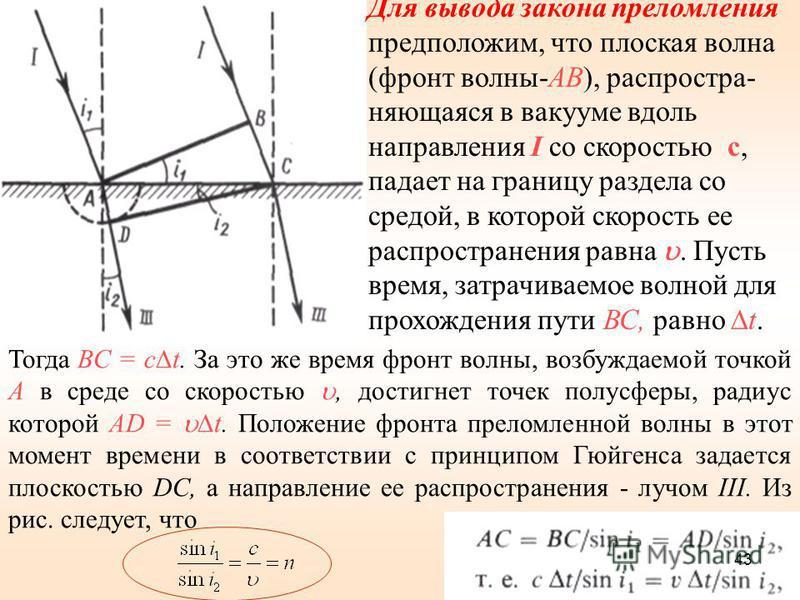 Тогда ВС = с t. За это же время фронт волны, возбуждаемой точкой А в среде со скоростью, достигнет точек полусферы, радиус которой AD = t. Положение фронта преломленной волны в этот момент времени в соответствии с принципом Гюйгенса задается плоскост