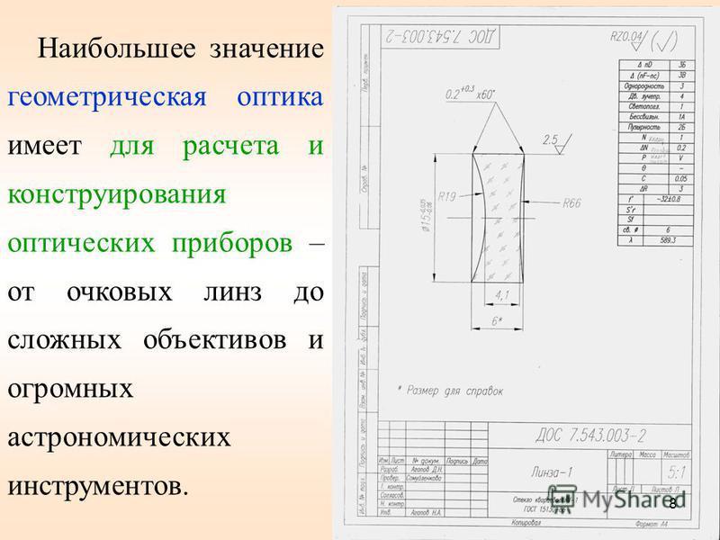 Наибольшее значение геометрическая оптика имеет для расчета и конструирования оптических приборов – от очковых линз до сложных объективов и огромных астрономических инструментов. 8