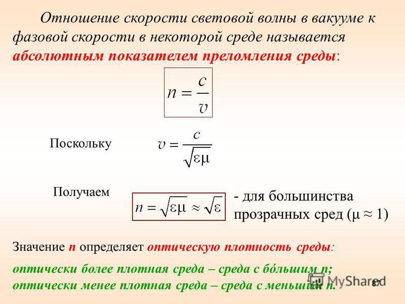 87 Отношение скорости световой волны в вакууме к фазовой скорости в некоторой среде называется абсолютным показателем преломления среды: Поскольку Получаем Значение n определяет оптическую плотность среды: оптически более плотная среда – среда с бóль