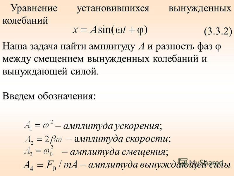 Уравнение установившихся вынужденных калебаний (3.3.2) Наша задача найти амплитуду А и разность фаз φ между смещением вынужденных калебаний и вынуждающей силой. – амплитуда ускорения; – амплитуда скорости; – амплитуда смещения; – амплитуда вынуждающе