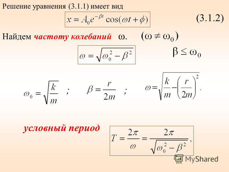 (3.1.2) Найдем частоту калебаний ω. ;; условный период Решение уравнения (3.1.1) имеет вид