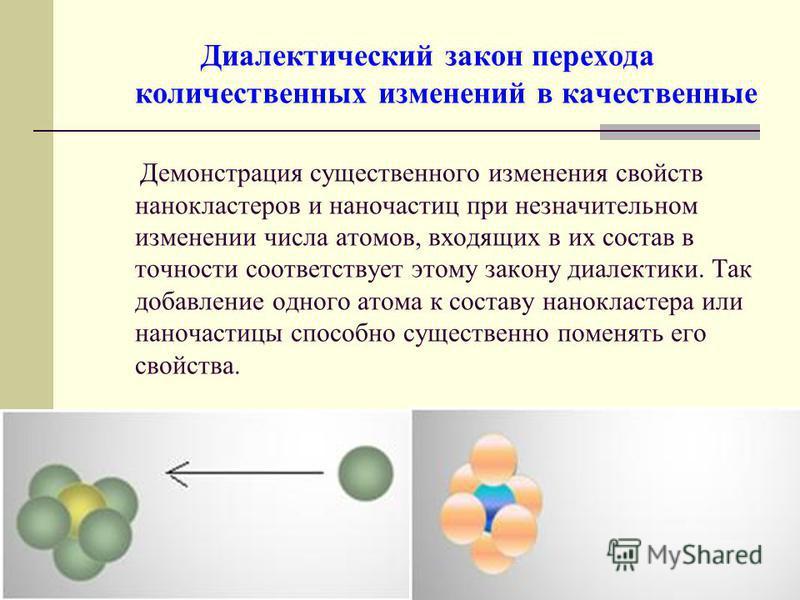 Диалектический закон перехода количественных изменений в качественные Демонстрация существенного изменения свойств нанокластеров и наночастиц при незначительном изменении числа атомов, входящих в их состав в точности соответствует этому закону диалек