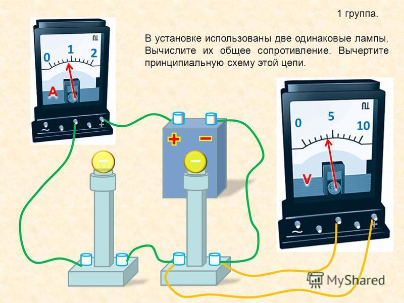 1 группа. 0 1 2 A A 0 5 10 V V В установке использованы две одинаковые лампы. Вычислите их общее сопротивление. Вычертите принципиальную схему этой цепи.