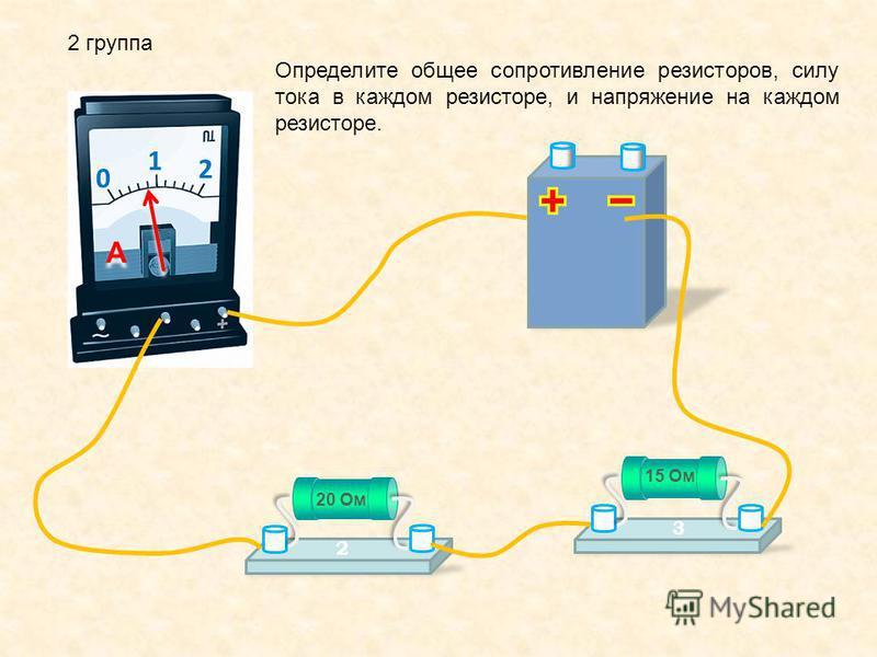 2 группа 0 1 2 A A Определите общее сопротивление резисторов, силу тока в каждом резисторе, и напряжение на каждом резисторе. 20 Ом 2 15 Ом 3