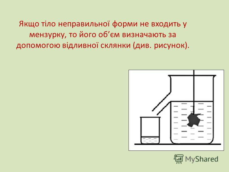 Якщо тіло неправильної форми не входить у мензурку, то його обєм визначають за допомогою відливної склянки (див. рисунок).