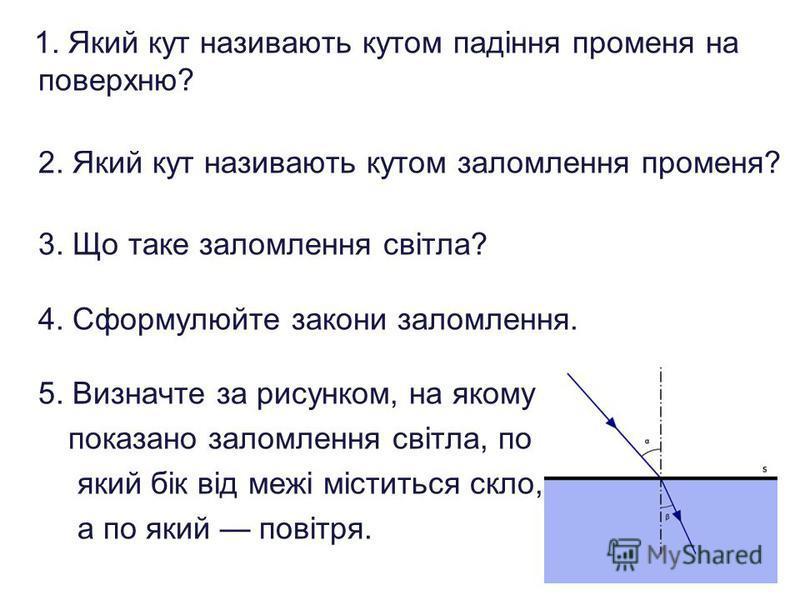 1. Який кут називають кутом падіння променя на поверхню? 2. Який кут називають кутом заломлення променя? 3. Що таке заломлення світла? 4. Сформулюйте закони заломлення. 5. Визначте за рисунком, на якому показано заломлення світла, по який бік від меж