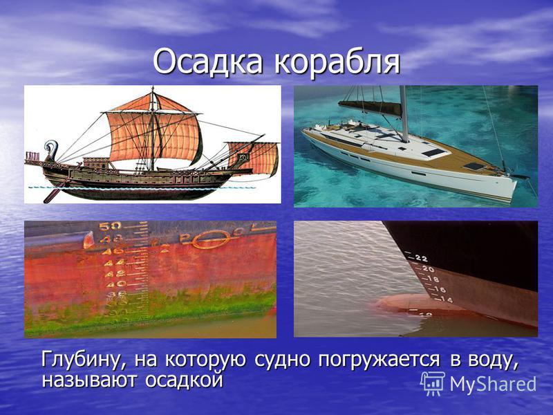 Осадка корабля Глубину, на которую судно погружается в воду, называют осадкой Глубину, на которую судно погружается в воду, называют осадкой