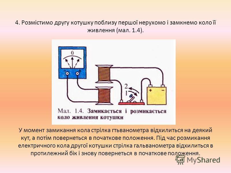 3. Одну з котушок приєднаємо до клем гальванометра, а другу ввімкнемо в електричне коло із джерела постійного струму і вимикача. Замкнувши коло живлення другої котушки, почнемо наближати її до першої (мал. 1.3). Відхилення стріти гальванометра засвід