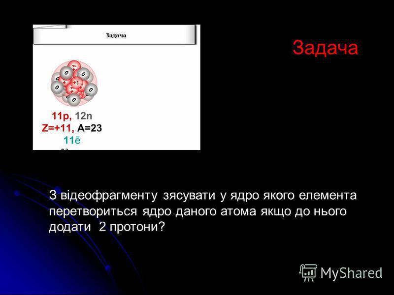 Задача З відеофрагменту зясувати у ядро якого елемента перетвориться ядро даного атома якщо до нього додати 2 протони?