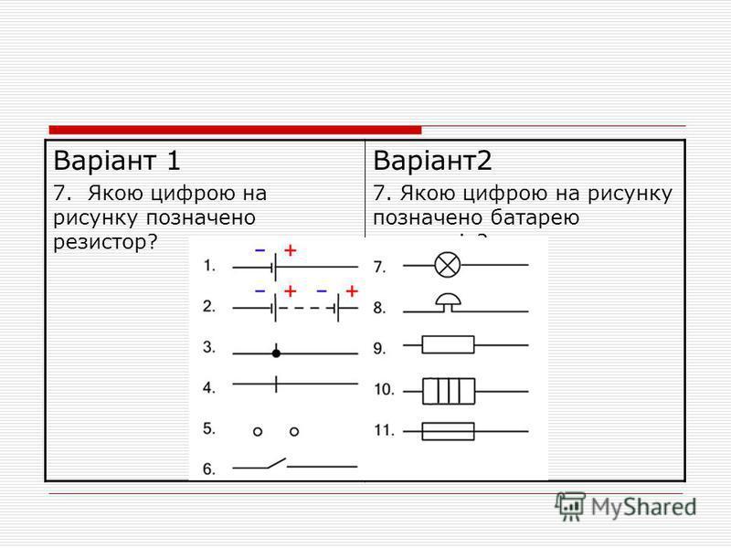 Варіант 1 7. Якою цифрою на рисунку позначено резистор? Варіант2 7. Якою цифрою на рисунку позначено батарею елементів?