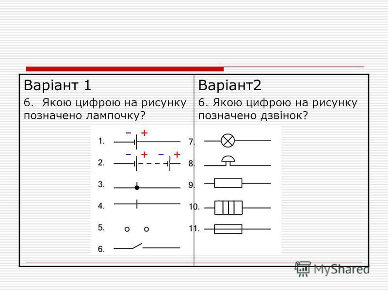 Варіант 1 6. Якою цифрою на рисунку позначено лампочку? Варіант2 6. Якою цифрою на рисунку позначено дзвінок?