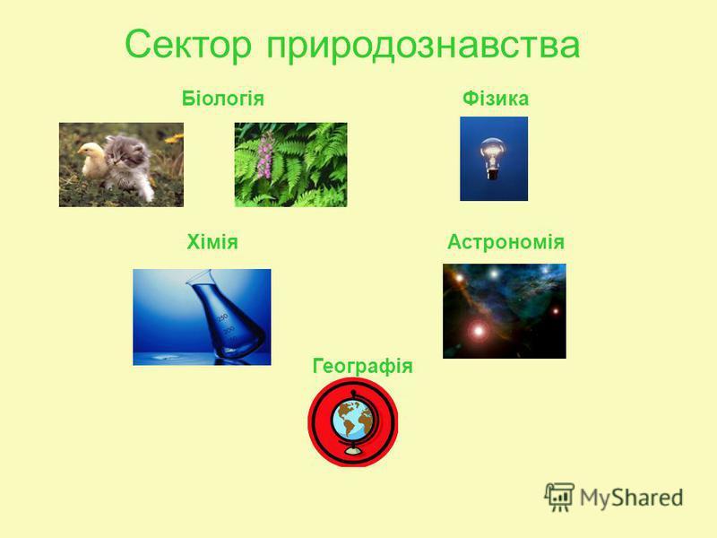 Сектор природознавства Біологія Фізика Хімія Астрономія Географія
