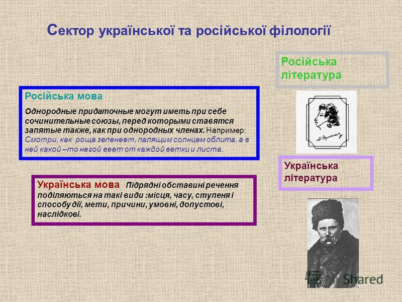 Російська мова Однородные придаточные могут иметь при себе сочинительные союзы, перед которыми ставятся запятые также, как при однородных членах. Например: Смотри, как роща зеленеет, палящим солнцем облита, а в ней какой –то негой веет от каждой ветк