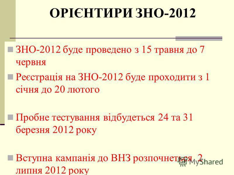 ОСОБЛИВОСТІ ЗНО-2012 введення до переліку тестів всесвітньої історії надання можливості складання тестів не більше як із 4-х предметів підвищення мінімальної кількості балів з профільних предметів до 140 проведення тестувань з української мови та літ