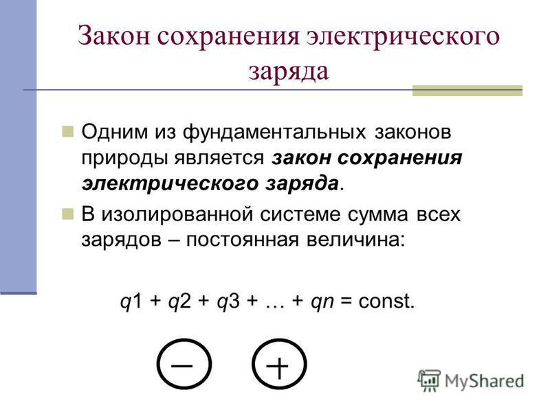 Закон сохранения электрического заряда Одним из фундаментальных законов природы является закон сохранения электрического заряда. В изолированной системе сумма всех зарядов – постоянная величина: q1 + q2 + q3 + … + qn = const.