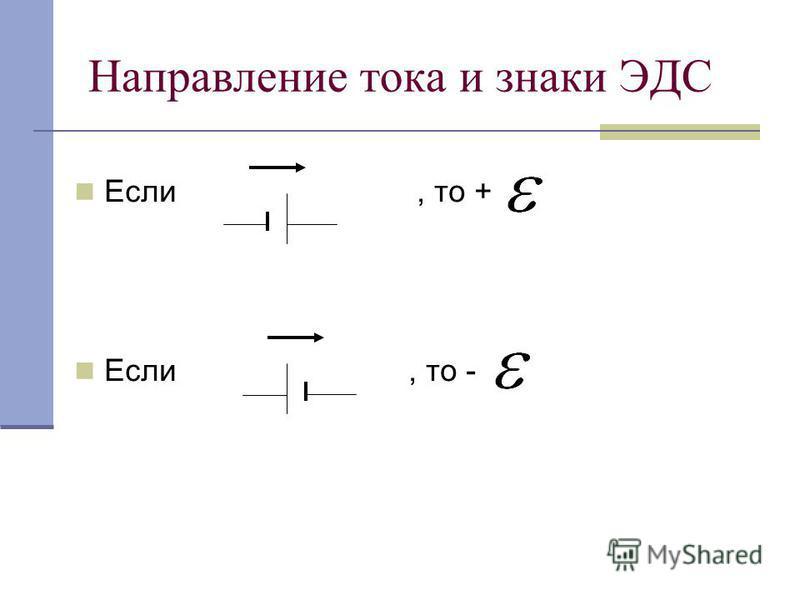 Направление тока и знаки ЭДС Если, то + Если, то -