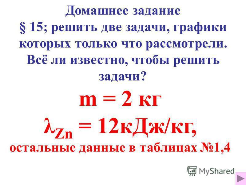 Домашнее задание § 15; решить две задачи, графики которых только что рассмотрели. Всё ли известно, чтобы решить задачи? m = 2 кг λ Zn = 12 к Дж/кг, остальные данные в таблицах 1,4