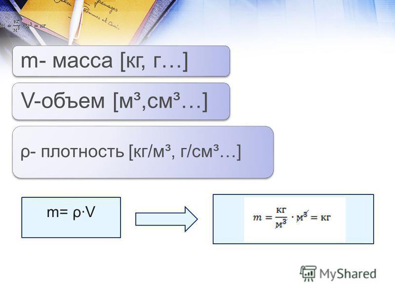 m- масса [кг, г…] V-объем [м³,см³…] ρ- плотность [кг/м³, г/см³…] m= ρ·V