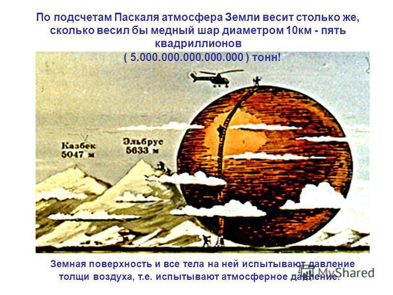 По подсчетам Паскаля атмосфера Земли весит столько же, сколько весил бы медный шар диаметром 10 км - пять квадриллионов ( 5000000000000000 ) тонн! ( 5.000.000.000.000.000 ) тонн! Земная поверхность и все тела на ней испытывают давление толщи воздуха,