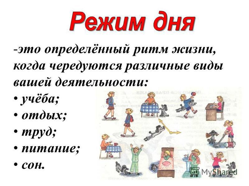 -это определённый ритм жизни, когда чередуются различные виды вашей деятельности: учёба; отдых; труд; питание; сон.