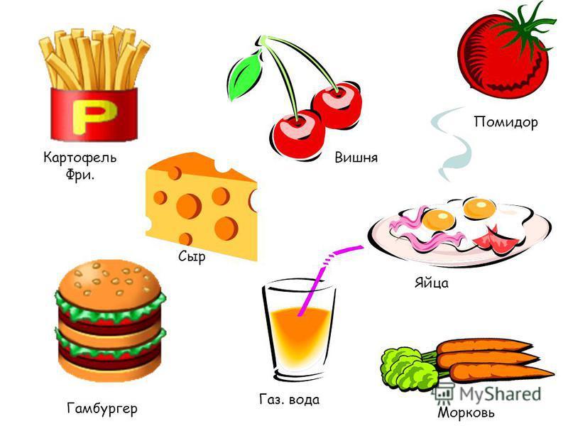 Картофель Фри. Вишня Помидор Сыр Яйца Газ. вода Морковь Гамбургер