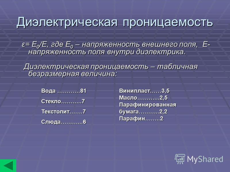 Диэлектрическая проницаемость ε= E 0 /E, где E 0 – напряженность внешнего поля, E- напряженность поля внутри диэлектрика. ε= E 0 /E, где E 0 – напряженность внешнего поля, E- напряженность поля внутри диэлектрика. Диэлектрическая проницаемость – табл