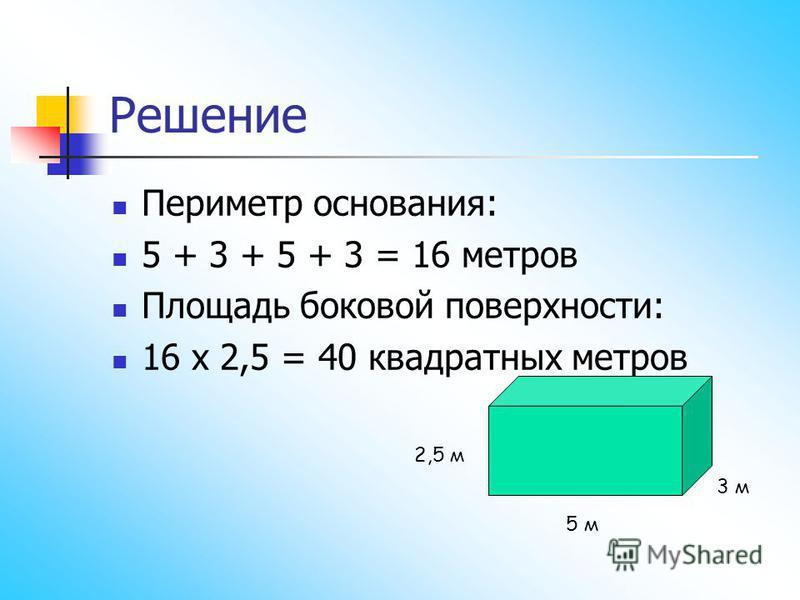 Решение Периметр основания: 5 + 3 + 5 + 3 = 16 метров Площадь боковой поверхности: 16 х 2,5 = 40 квадратных метров 2,5 м 5 м 3 м