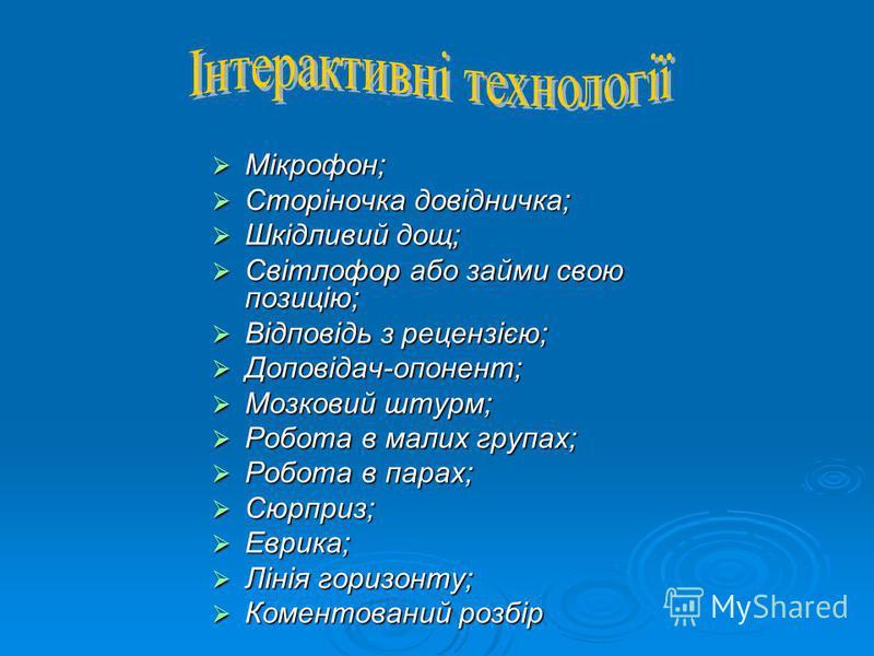 Мікрофон; Мікрофон; Сторіночка довідничка; Сторіночка довідничка; Шкідливий дощ; Шкідливий дощ; Світлофор або займи свою позицію; Світлофор або займи свою позицію; Відповідь з рецензією; Відповідь з рецензією; Доповідач-опонент; Доповідач-опонент; Мо