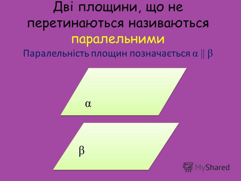 Дві площини, що не перетинаються називаються паралельними Паралельність площин позначається α || β β β α α